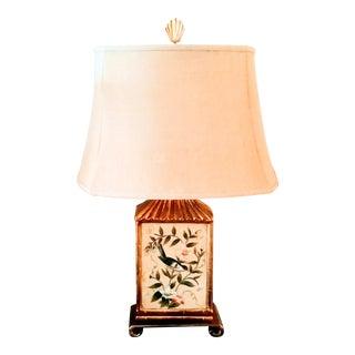 Chinoiserie Ceramic Pagoda Bird Chelsea House Style Table Lamp Burlap Shade For Sale