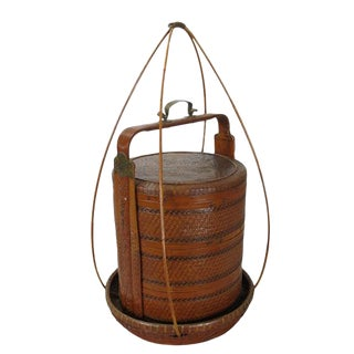Early 20th Century Antique Chinese Bamboo Food Box For Sale