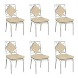 Image of Haven Outdoor Dining Chairs, Canvas Antique Beige with Canvas White Welt - Set of 6 For Sale