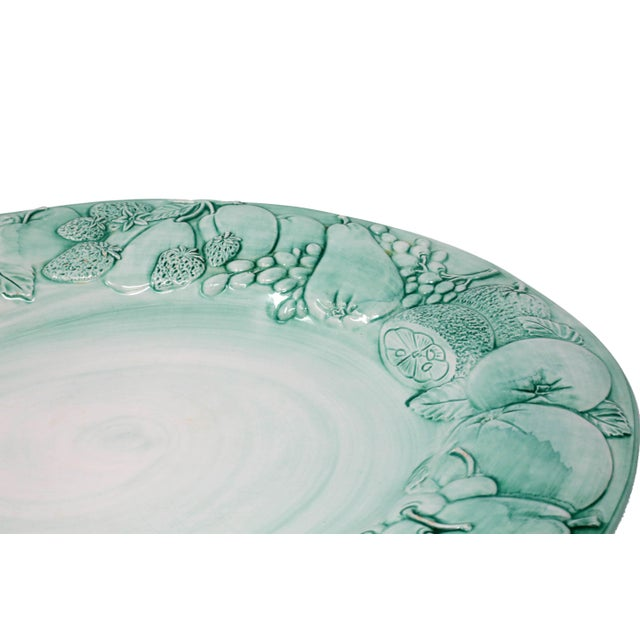 """Ceramic Vintage Italian Majolica Ceramic Large 20"""" Hand-Painted Green Fruit Platter Italy For Sale - Image 7 of 13"""