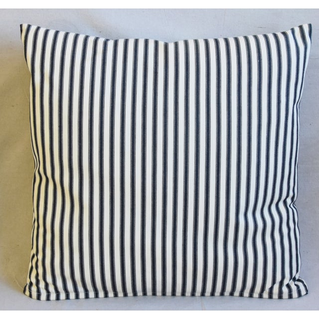 """Tribal French Black & White Striped Ticking Feather/Down Pillows 23"""" Square - Pair For Sale - Image 3 of 10"""