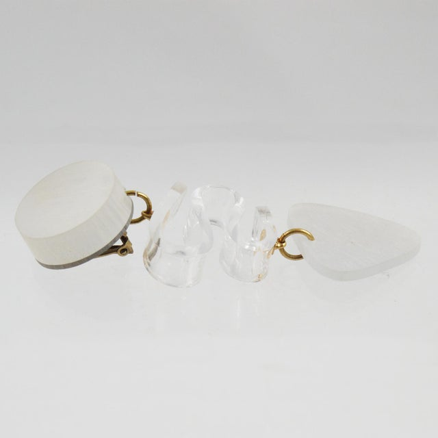 Resin Harriet Bauknight for Kaso Lucite Clip on Earrings Dangle Frosted White For Sale - Image 7 of 8