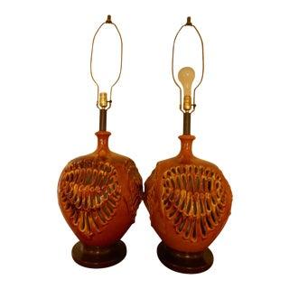Mid Century Ceramic Lamp Modern - a Pair