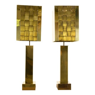 1970s Mid-Century Modern Curtis Jere Brass Lamps - a Pair