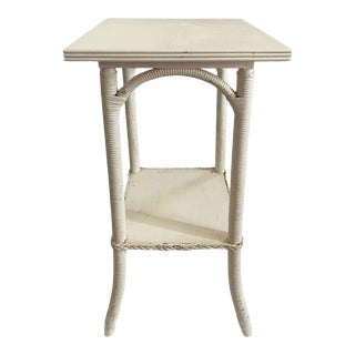 Vintage Mid Century Wood and Rattan Off White Painted Two Tiered Table For Sale
