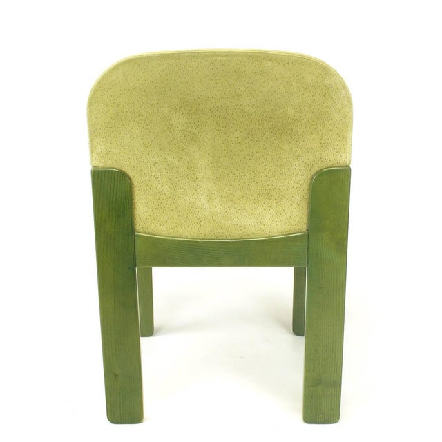 1980s Four Ernesto Radaelli for Saporiti Dining Chairs in Dyed Green Oak and Suede For Sale - Image 5 of 9