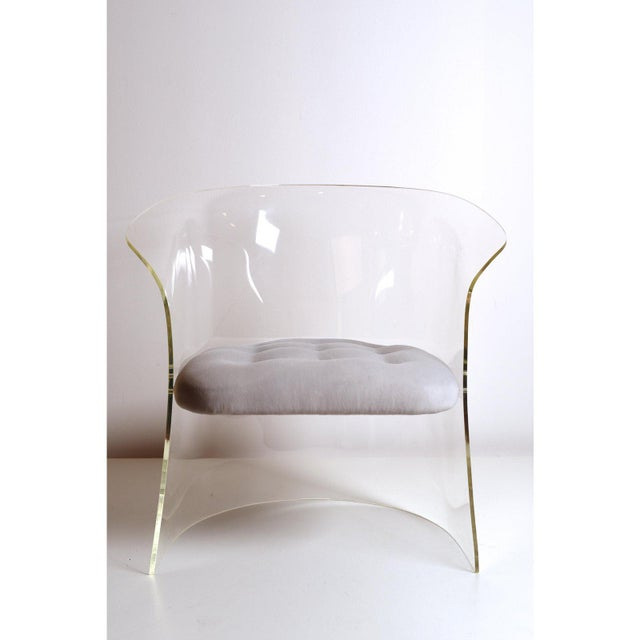 1960s Formed Lucite Chair With Tufted Seat, Pair Available For Sale - Image 10 of 12