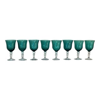 Vintage French Handblown Goblets - Set of 8 For Sale
