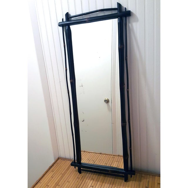 Anglo-Indian 1980s Rustic Ebonized Bamboo Pier Mirror For Sale - Image 3 of 8