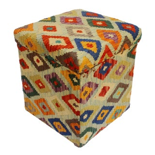 Cristoph Lt. Blue/Rust Kilim Upholstered Handmade Storage Ottoman For Sale