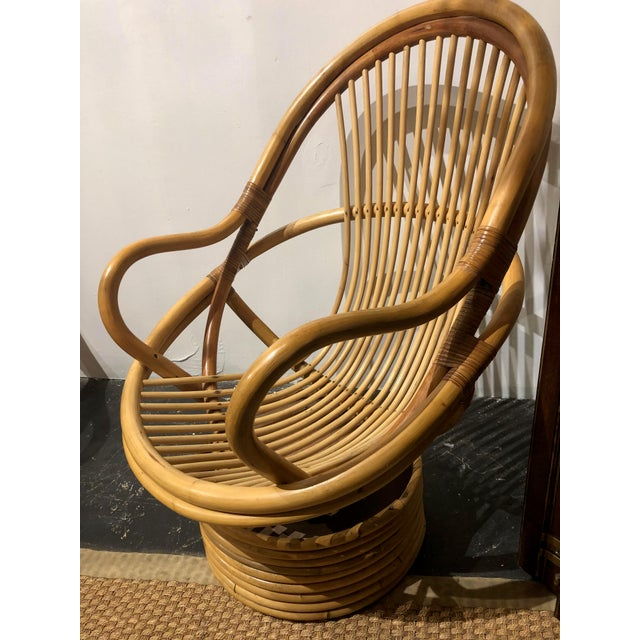Boho Chic 1980s Vintage Bamboo Swivel Chairs- a Pair For Sale - Image 3 of 13