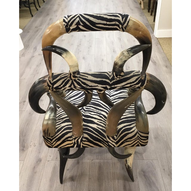 Americana Zebra Horn Chair For Sale - Image 3 of 6