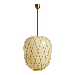 1940s Brass and Glass Oversized Pendant by Harald Notini for Bohlmarks For Sale