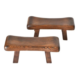 Chinese Wenge Wood Mini Stools, Hand Rests - a Pair For Sale