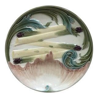 Majolica Asparagus Plate Keller Et Guerin Luneville, Circa 1880 For Sale