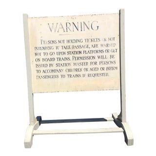 Antique Free-Standing Railroad Station Wood Sign For Sale
