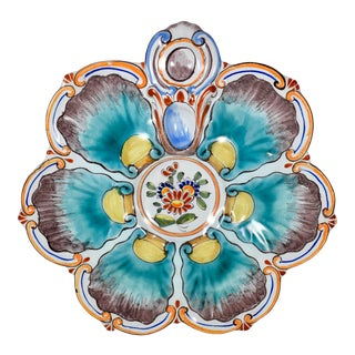 St. Clément French Faïence Aqua Floral Oyster Plate For Sale