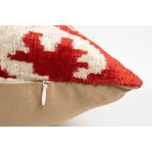 Multi-Colored Handmade Silk Velvet Ikat Pillow - Image 2 of 2
