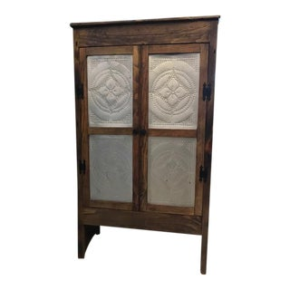 Reclaimed Pine & Tin Paneled Cabinet