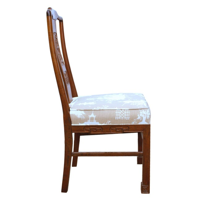Vintage Chinoiserie or Ming Style Dining Chairs in Reverse Toile - Set of 4 For Sale In Los Angeles - Image 6 of 7