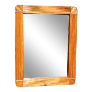 1970s Split Bamboo Mirror / Split Reed Mirror For Sale