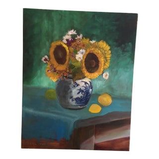 Laura Lloyd Fontaine Original Sunflowers Still Life Painting For Sale