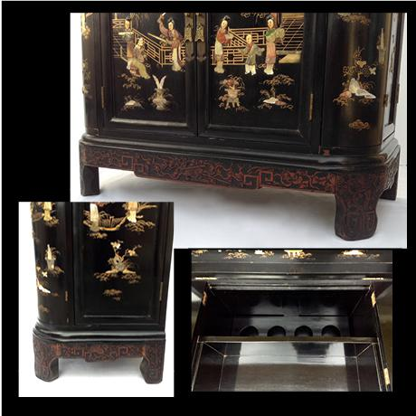 c.1950s James Mont Designed Asian-Style Dry Bar Cabinet by George Zee & Co. For Sale - Image 10 of 13