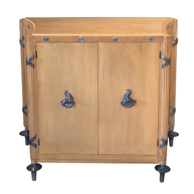1940s French Sycamore 2-Door Cabinet With Pewter Mounts For Sale - Image 13 of 13