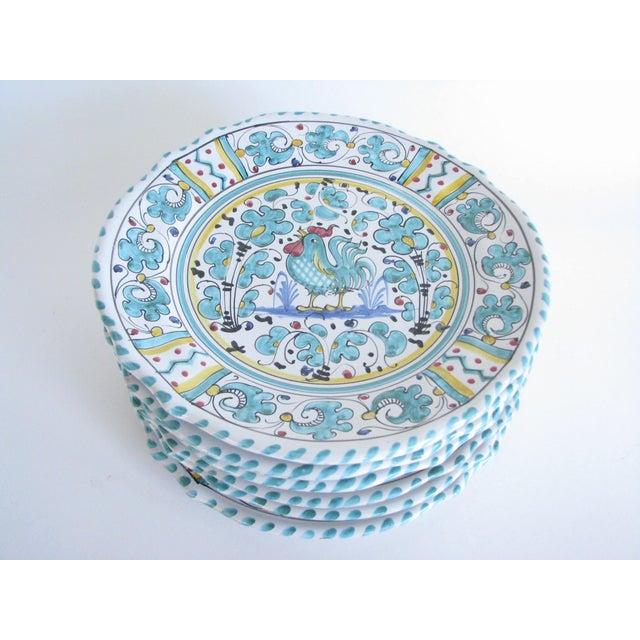 Deruta Vintage Mari Deruta Italian Majolica Green Rooster Orvieto Pottery Plates - Set of 6 For Sale - Image 4 of 10