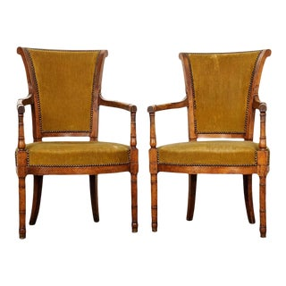 French 19th Century Directoire Style Upholstered Fauteuils - a Pair For Sale