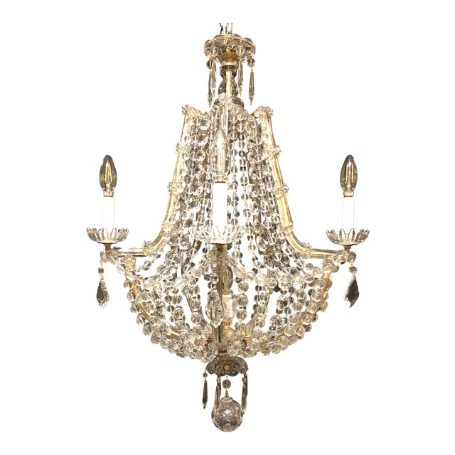 1920's French Antique Louis XVI Style Signed Baccarat Chandelier For Sale - Image 6 of 6