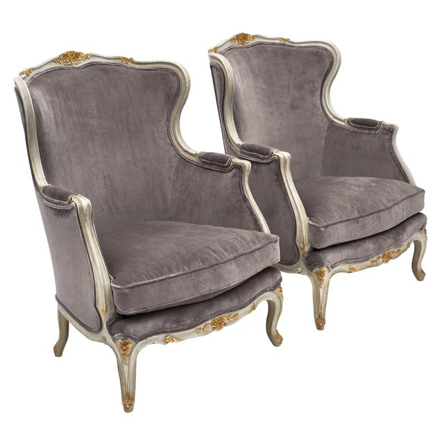 Louis XV Style French Bergère Chairs - a Pair For Sale - Image 12 of 12