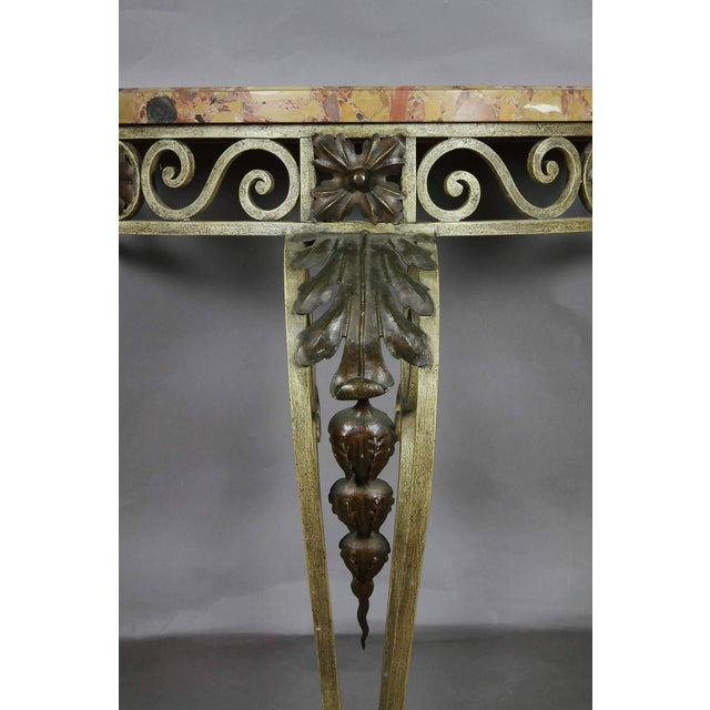 Louis XVI Style Wrought Iron and Marble-Top Petite Demilune Console Table For Sale - Image 4 of 7