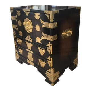Large Vintage Chinoiserie Mahogany & Brass Detail Jewelry Chest For Sale