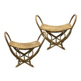 Image of Vintage Rattan Woven Stools - a Pair For Sale