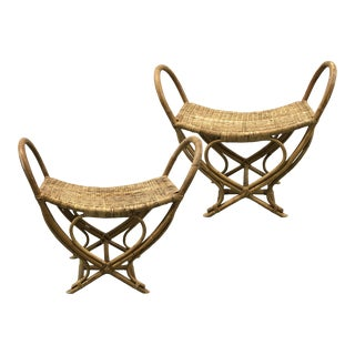 Vintage Rattan Woven Stools — a Pair For Sale