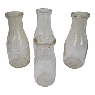 Vintage Glass Milk Bottles - Set of 4 For Sale