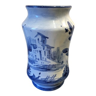 Italian Faience Majolica Blue Apothecary Jar For Sale