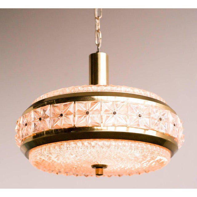 1950s Orrefors Chrystal and Brass Chandelier For Sale - Image 5 of 8