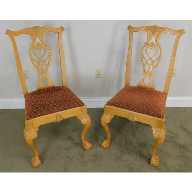 High Quality American Made Solid Pine Wood Carved Side Chairs by Lexington