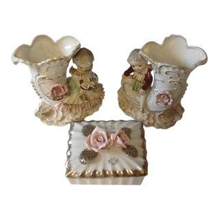 Vintage Cherub & Pink Rose Porcelain Vases, Trinket Box, Circa 1950's – Set of 3 For Sale