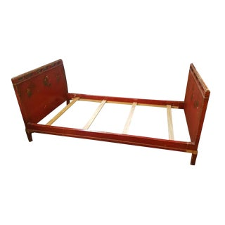Asian Floral Painted Twin Size Bed