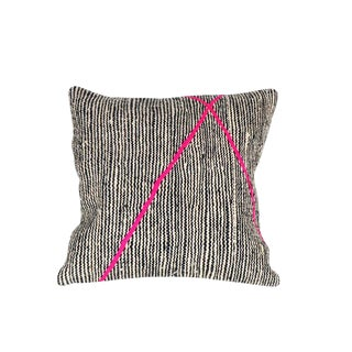 Moroccan Beni Ourain Black and Pink Pillow For Sale