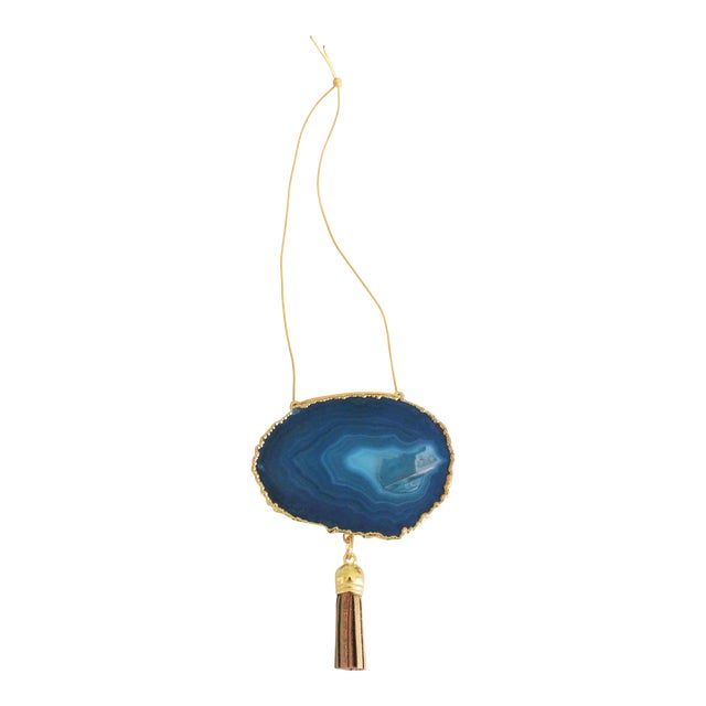 Modern Boho Teal Agate Holiday Ornament - Image 1 of 5