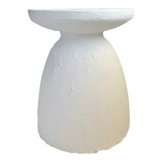 Wabi Textured Plaster Side Table For Sale