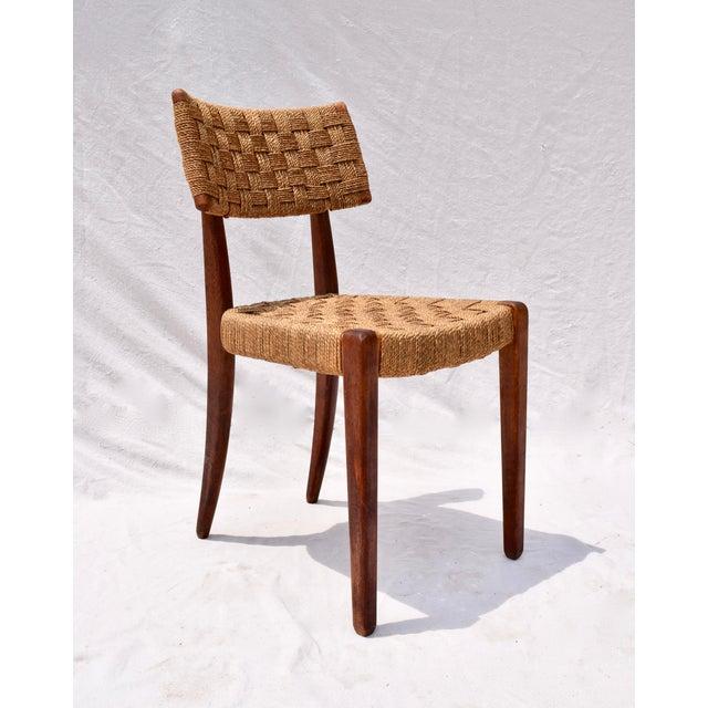 Teak Mid Century Modern Side Desk Rope Chair For Sale - Image 12 of 12