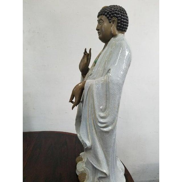 Glazed Ceramic Buddha Statue - Image 4 of 9