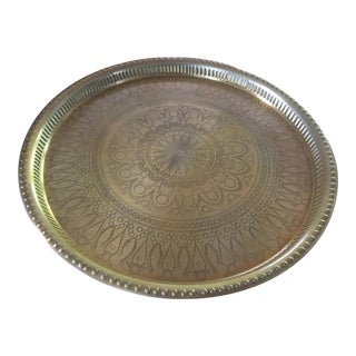 Boho Chic Brass Table Tray For Sale