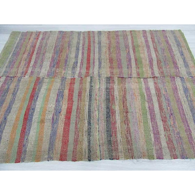 Colorful Striped Turkish Rag Rug - 5′2″ × 7′4″ For Sale - Image 4 of 6