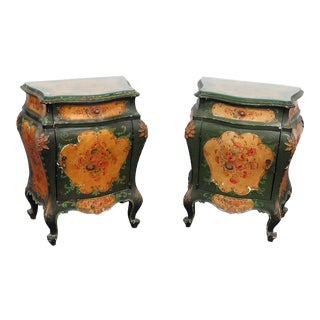 Pair of Italian Bombay Glass Top End Tables For Sale